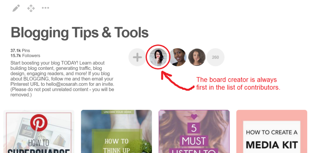 How to find Pinterest group board creator