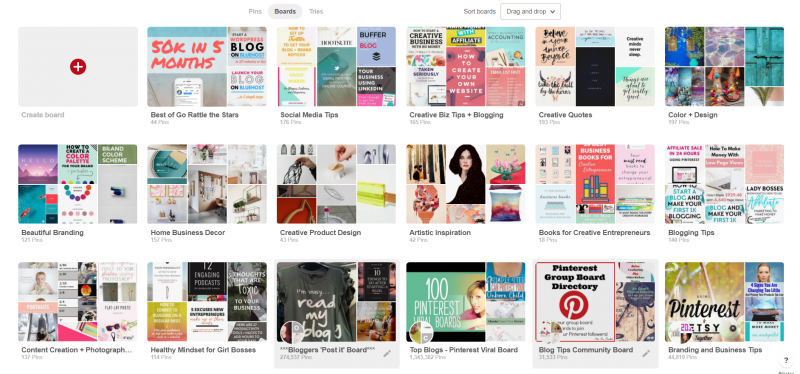 niche specific Pinterest boards